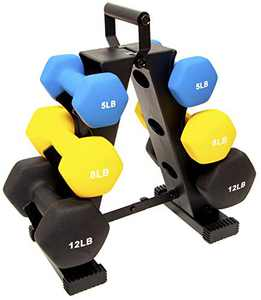 BalanceFrom Colored Neoprene Coated Dumbbell Set with Stand, multi