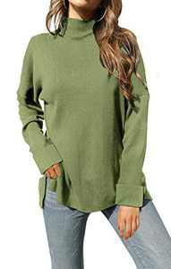 Womens Turtleneck Sweater Long Sleeve Knit Pullover High Low Hem Loose Casual Oversized Sweaters Tops Green