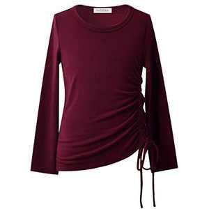 Burgundy Tops for Girls Winter Blouse Side Drawstring Tunics Long Sleeve Fall Tops 8 9t