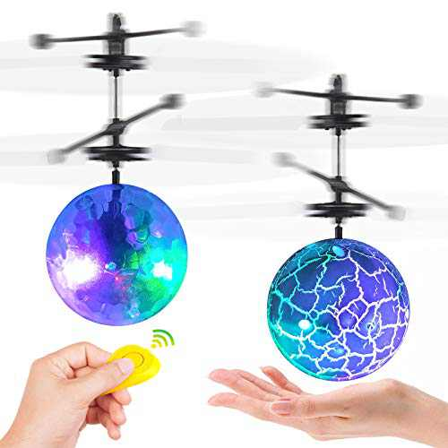 Flying Ball Toys,2 Pack LED RC Toy for Kids Boys Girls Adults Gifts Rechargeable Light Up Ball Hand Mini Drone Infrared Induction Helicopter Ball with 2 Remote Controller for Indoor and Outdoor Games