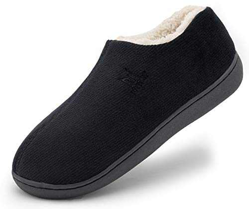 Men's Cozy Memory Foam Woolen Slippers,Warm Closed Back House Shoes with Indoor Outdoor Anti-Skid Soft Rubber Sole,Black,Size 10.0