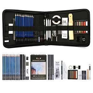 Drawing Pencils Set, 51 Pack Professional Sketch Pencil Set in Zipper Carry Case, Art Supplies Drawing Set with Graphite Charcoal Sticks Tool Sketch Book for Adults Kids Drawing Sketching