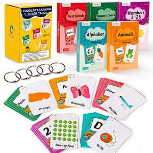teytoy 130 Flash Cards for Toddlers, ABC Alphabet, Numbers, Colors & Shapes, First Words, Animals Preschool Flashcards with Rings for Kindergarten Homeschool Supplies Educational Learning Toy Kids