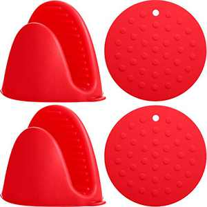 4 Pieces Silicone Heat Resistant Cooking Pinch Mitts Set, 2 Pieces Mini Oven Gloves and 2 Pieces Silicone Insulation Pads Silicone Anti-Scald Heat for Cooking Baking, Red