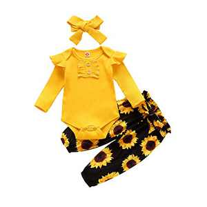 Hotaden Newborn Baby Girls Clothes Size 3 4 5 6 7 8 Winter Yellow Pants Outfits for Girl