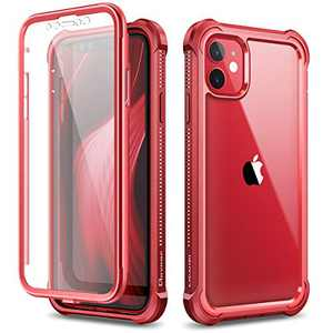"""Dexnor Compatible with iPhone 12 Case/iPhone 12 Pro Case with Screen Protector Clear Military Rugged 360 Full Body Shockproof Hard Defender Heavy Duty Cover Bumper for iPhone 12/12 Pro 6.1"""" - Red"""
