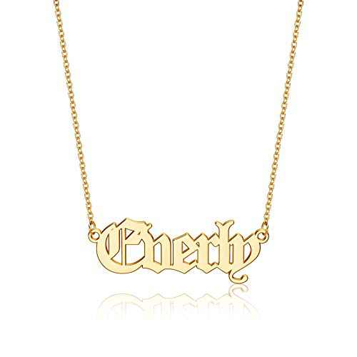 Hidepoo Everly Name Necklaces for Women Girls, 14K Gold Plated Name Necklace Everly Jewelry Customized Everly Name Necklace for Women Jewelry Name Necklace Personalized