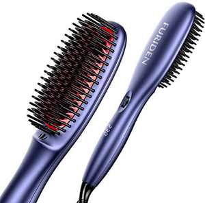 Professional Ionic Straightening Brush, Straightener Brush for Thick Curly Hair, Hot Hair Straightener Brush with Anti-Scald Feature, 15s Fast MCH Ceramic Heating, 3 in 1 Button