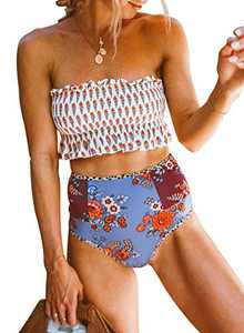Asvivid Womens 2 Pieces Vintage Retro Bandeau Floral Printed Bikini Swimsuits Off Shoulder High Waist Bathing Suit White S