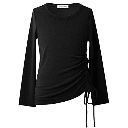 Tunic Tops for Girls Casual Long Sleeve Winter Clothes Round Neck T-Shirts Black 10 11