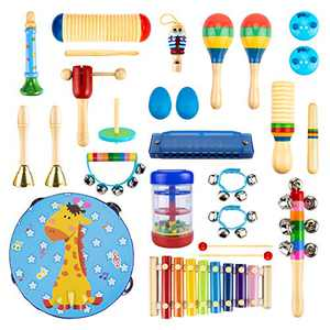 UNIH Musical Instruments Toys Set for Kids Toddlers 26PCS Wooden Musical Percussion Instruments, 17 Types Preschool Educational Learning Tambourine Xylophone Toys for Boys and Girls with Storage Bag