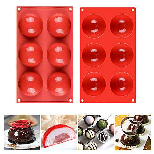 Fimary 6 Holes Half Sphere Silicone Mold For Chocolate, Cake, Jelly, Pudding, Round Shape, Dia: 3 inches(Pack of 2)