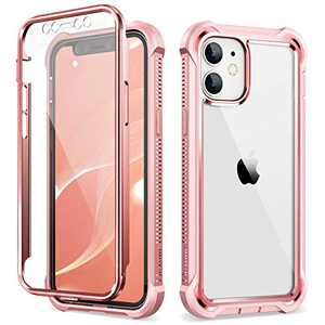 Dexnor Compatible with iPhone 12 Case/iPhone 12 Pro Case with Screen Protector Electroplated Metal Frame Clear Back Cover Rugged 360 Full Body Protective Defender Heavy Duty Bumper for Women Pink