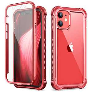 Dexnor Compatible with iPhone 12 Mini Case with Screen Protector Clear Military Rugged 360 Full Body Protective Shockproof Hard Back Defender Heavy Duty Cover Bumper for iPhone 12 Mini 5.4 inch Red