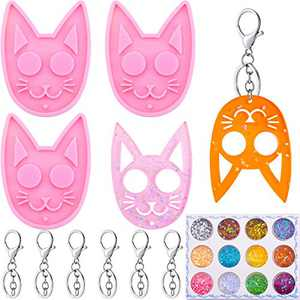 3 Pieces Cat Keychain Mold Pendant Casting Silicone Mould Epoxy Resin Mold with 6 Pieces Keychain Rings, 12 Colors Star Sequins for DIY Craft Making Supplies (Pink)