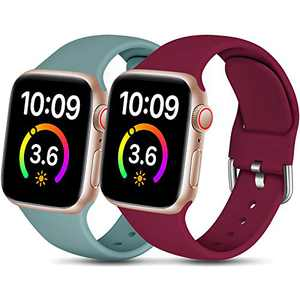 Dirrelo Compatible for Apple Watch Bands 44mm 42mm Series SE 6 5 4 3 2 1 Strap, Soft Silicone Replacement Sport Wrist Band for iwatch Band Women Men, Small Pine Green & Claret 2-Pack