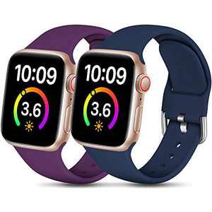 Dirrelo Compatible for Apple Watch Bands 40mm 38mm Series SE 6 5 4 3 2 1 Strap, Soft Silicone Replacement Sport Wrist Band for iwatch Band Women Men, Small Dark Blue & Dark Purple 2-Pack