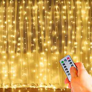 COSITA Curtain Lights,304 LED 9.8ftX9.8ft 30V 8 Modes Safety Window Lights with Memory for Home Wedding Christmas Party Family Patio Lawn Garden Bedroom Outdoor Indoor Wall Decorations