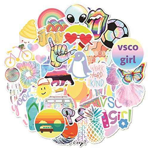VSCO Stickers for Water Bottle,50PCS Vinyl Waterproof Sticker Pack,Laptop Stickers,Cute Stickers,Skateboard,Luggage,Hydro Flask Stickers