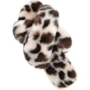 Cozyfurry Womens Slippers Cross Band Soft Plush Furry Cozy House Shoes Fuzzy Open Toe Indoor or Outdoor Slip on Warm Breathable Anti-Skid Sole Leopard Beige 9-10