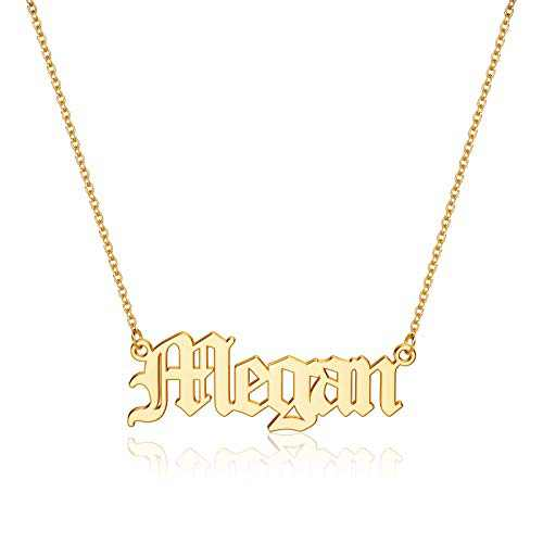 Hidepoo Megan Name Necklaces for Women Girls, 14K Gold Plated Name Necklace Megan Customized Jewelry Megan Name Necklace for Women Jewelry Name Necklace Personalized