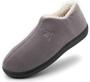 Men's Cozy Memory Foam Woolen Slippers,Warm Closed Back House Shoes with Indoor Outdoor Anti-Skid Soft Rubber Sole,Grey,Size 7