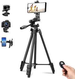 Phone Tripod Stand 57 Inches 144CM Retractable Professional Selfie Stick Travel Camera Tripod Bluetooth Wireless Remote Compatible with Camera,iPhone Samsung and Android Smartphones,Gopro (57Inch)