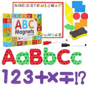 Small Fish Magnetic Letters and Numbers Toys for Toddlers and Kids, Alphabet Magnet in Lowercase and Uppercase, Numbers, Signs, Shapes, White Board, Markers and Eraser Set for Home and Classroom Use