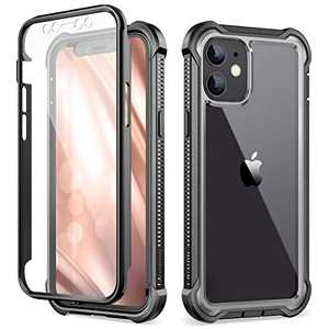 """Dexnor Compatible with iPhone 12 Case/iPhone 12 Pro Case with Screen Protector Clear Military Rugged 360 Full Body Shockproof Hard Defender Heavy Duty Cover Bumper for iPhone 12/12 Pro 6.1"""" - Black"""