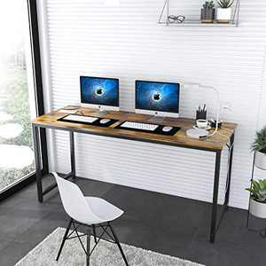 Computer Desk (Large), 55 inches Study Writing Table for Home Office, Industrial Simple Style PC Workstation for Working Learning, Rustic Brown Desktop Metal Legs, Easy Assemble