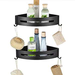 Corner Shower Caddy Bathroom Organizer, 2 Tier Adhesive Shower Storage Shelf Rack Basket, Kitchen Organizer Storage No Drilling Aluminium Corner Shelf for Bathroom Toilet Kitchen Dorm (Sector, Black)