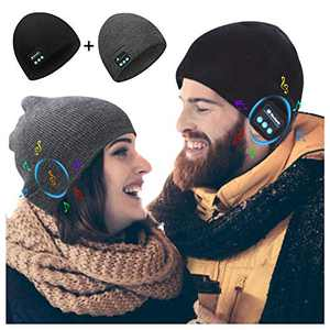 Bluetooth Beanie 2 Pack, Bluetooth 5.0 Wireless Music Winter Beanie Hat, Build-in 2 Stereo Speakers Fits Outdoor Sports, Christmas Birthday Gifts for Men Women Dad Mom Girls Boys, Black/Grey