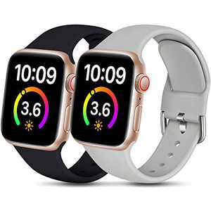 Dirrelo Compatible for Apple Watch Bands 44mm 42mm Series SE 6 5 4 3 2 1 Strap, Soft Silicone Replacement Sport Wrist Band for iwatch Band Women Men, Small Black & Gray 2-Pack