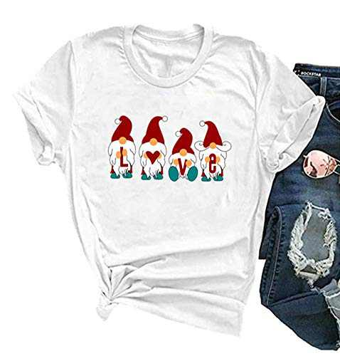 Fancyqube Womens Valentine's Day Shirt Cute Gnomes Graphic Printed Short Sleeve Love Graphic Tees Tops (white1, XL)
