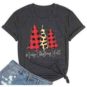 T&Twenties Merry Christmas Letter Print T Shirt for Women,Leopard Plaid Christmas Tree Tee Tops Funny Short Sleeve Merry Christmas Tree Print Shirt Tops