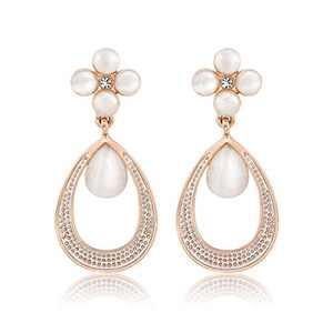 Mytys Flower Waterdrop Dangles Earrings for Women Cat's Eye Stone Dangle Drop Earring Rose Gold Plated