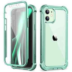 Dexnor Compatible with iPhone 12 Mini Case with Screen Protector Clear Military Rugged 360 Full Body Protective Shockproof Hard Back Defender Heavy Duty Cover Bumper for iPhone 12 Mini 5.4 inch Green
