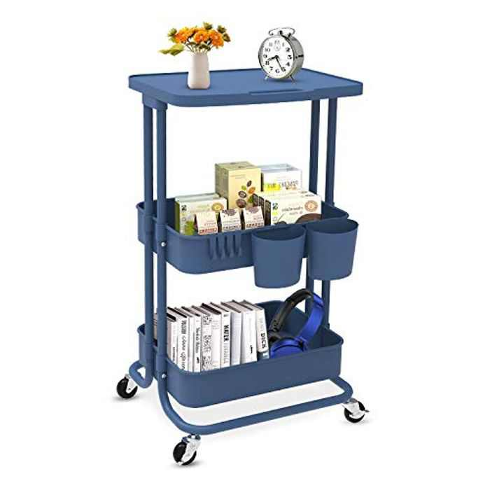 Lekind 3-Tier Rolling Trolley Cart, Multi-Purpose Storage Organiser Mesh Basket Shelf with Ergonomic Handles for Bathroom, Kitchen, Office (Blue)