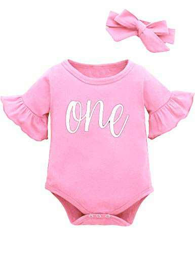 Dramiposs Baby Girl One Year Old Birthday Tops Toddler 1st Birthday Romper (Pink,6-12 Months)