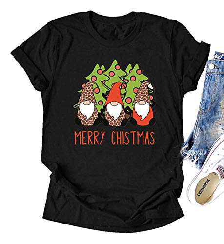 Fancyqube Womens Valentine's Day Shirt Cute Gnomes Graphic Printed Short Sleeve Love Graphic Tees Tops (Black, M)
