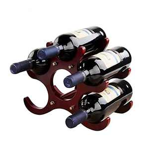 Countertop Wine Rack or Water Bottle Holder - 9 Bottle Wine Holder for Wine Storage - Mahogany Bamboo Wine Rack Free Standing for Pantry Cabinet Bar Tabletop Kitchen