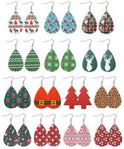 Sllaiss 14 Pairs Lightweight Christmas Leather Earrings for Women Handmade Snowmen Snowflake Christmas Tree Dangle Earrings Set Christmas Jewelry Gift (A)