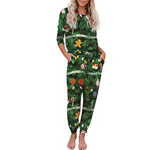 Truwelby 2 Piece Pajamas Set for Women Tie Dye Loungewear, Long Sleeve Tops and Pants Pj Sets Sleepwear, S-XL (Merry Christmas, X-Large)