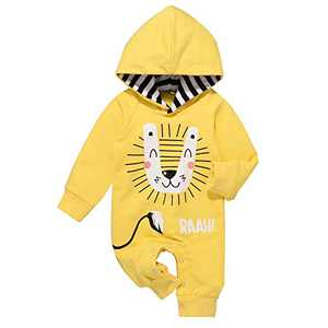 Newborn Baby Boy Clothes Cotton Little Lion Hooded Rompers Newborn Boy Pajamas Outfits (Yellow 9-12 Months)