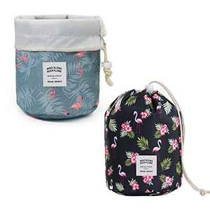Barrel Makeup Bags with Drawstring---- Travel Cosmetic Bags Toiletry Organizer Waterproof for Women and Girls 2 Packs