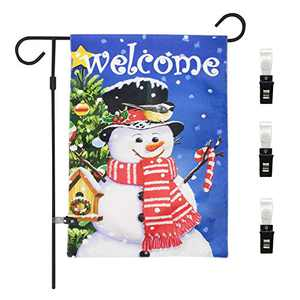 Airsnigi Garden Flags 28x40 Inch Double Sided Snowman Garden Flag Snowman with Red Scarf Garden Flag Winter Holiday Christmas Yard Outdoor Decoration