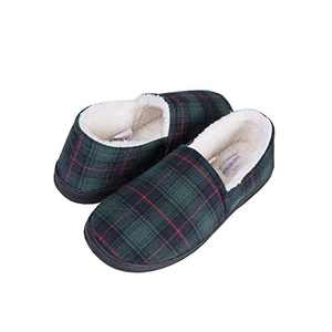 good motion Wide Memory Foam Men Slippers,Soft Warm Mens House Shoes,Cotton Anti-Skid Rubber Sole Plaid Slippers,Indoor Outdoor Comfy Furry Fluffy Slip On Bedroom Slippers for Men Size 8-13 Green