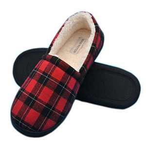 good motion Wide Memory Foam Men Slippers,Soft Warm Mens House Shoes,Cotton Anti-Skid Rubber Sole Plaid Slippers,Indoor Outdoor Comfy Furry Fluffy Slip On Bedroom Slippers for Men Size 8-13 Red