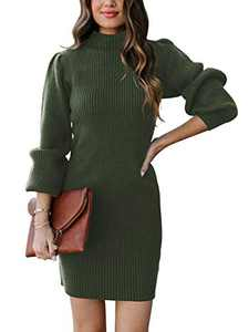 ANRABESS Womens Turtleneck Long Sleeve Slim Fit Stretchy Bodycon Pullover Sweater Dress for Winter A145junlv-M Army Green