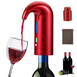 Electric Wine Aerator Pourer, Smart Automatic Wine Dispenser, Filter Aerating Pourer and Decanter Spout, With Vacuum Wine Stopper, Red White Wine Accessories for Wine Enthusiast (Lucky Red)